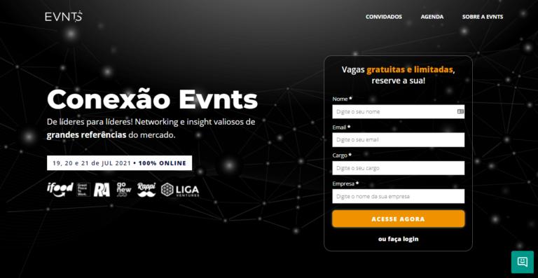foto da página inicial do evento online conexão evnts